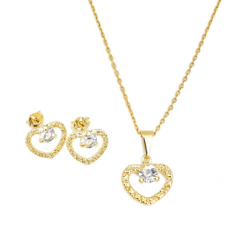 18K GL Crystal Heart Set - Donna Italiana ®