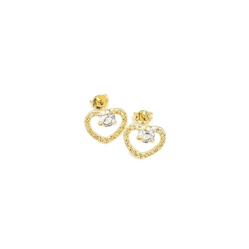 18K GL Crystal Hearts Earrings - Donna Italiana ®