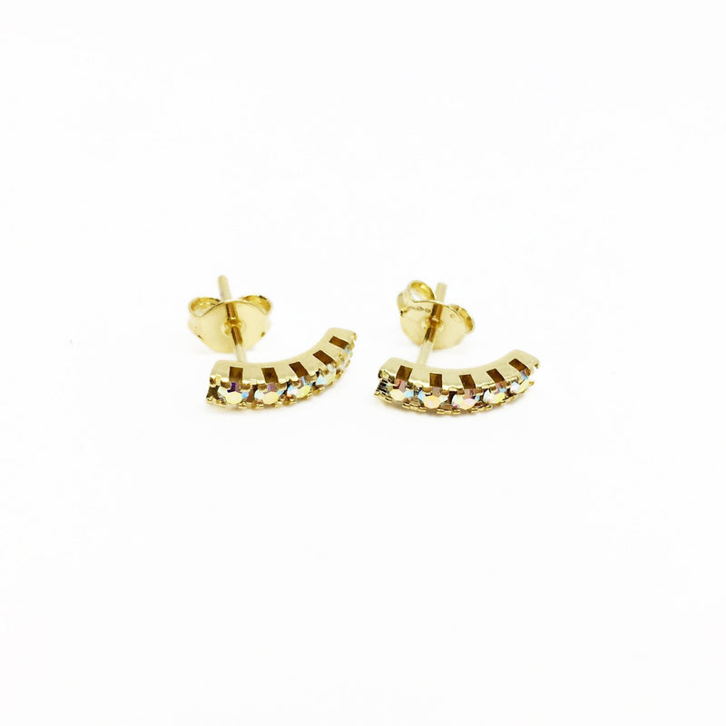 18K GL Curved Bar Earrings AB Crystals - Donna Italiana ®