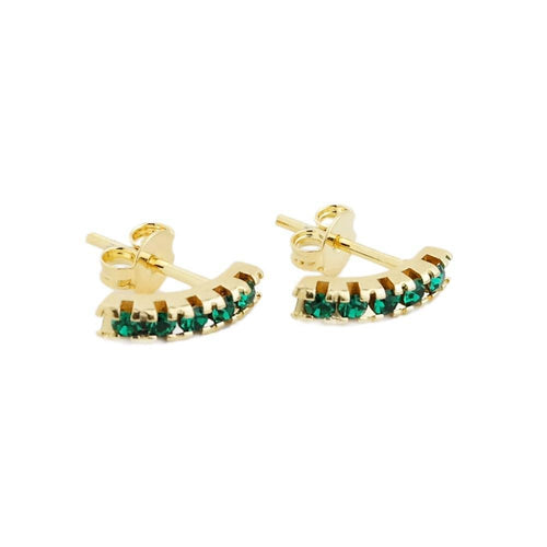 18K GL Curved Bar Earrings Emerald Crystals - Donna Italiana ®