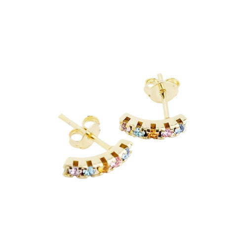 18K GL Curved Bar Earrings Light Multicolor Crystals - Donna Italiana ®