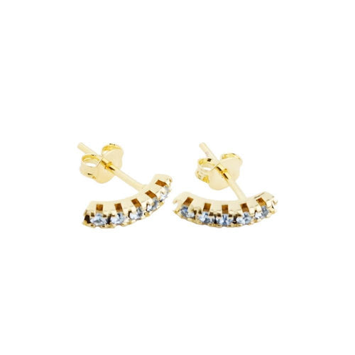 18K GL Curved Bar Earrings Light Saphire Crystals - Donna Italiana ®