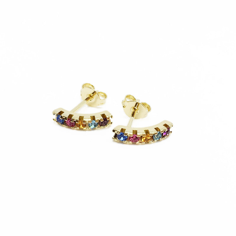 18K GL Curved Bar Earrings Multicolor Crystals - Donna Italiana ®