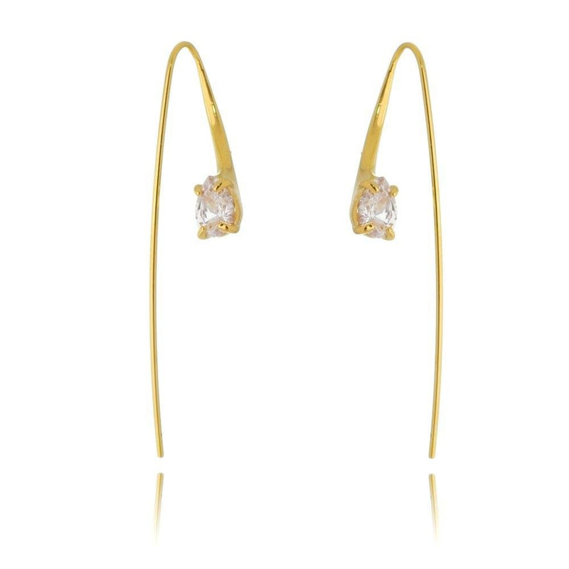18K GL CZ Loop Dangling Earring - Donna Italiana ®