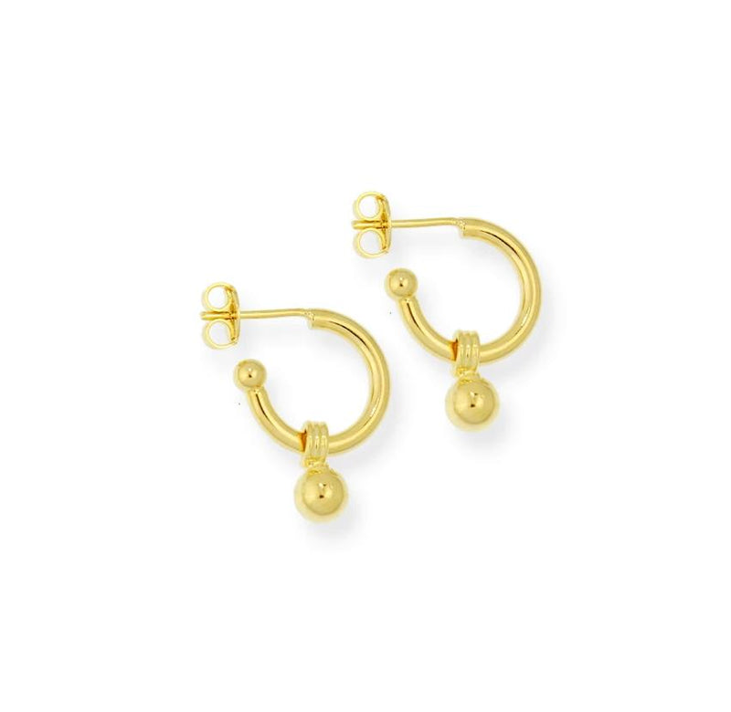 18k GL Dangling Ball Hoop - Donna Italiana ®