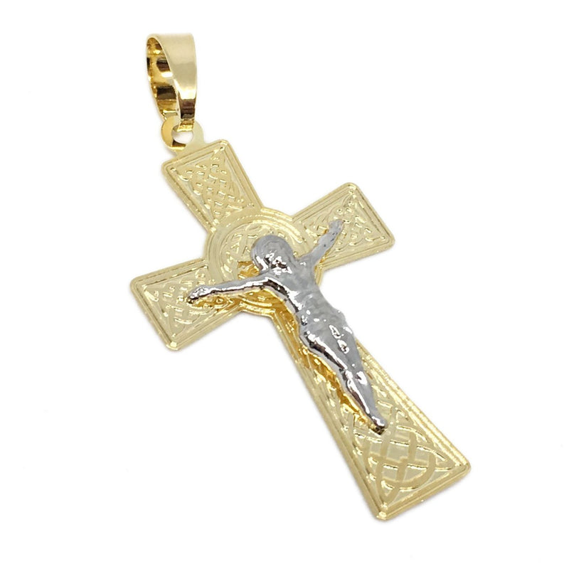 18K GL Detailed CRUCIFIX RH/GD - Donna Italiana ®