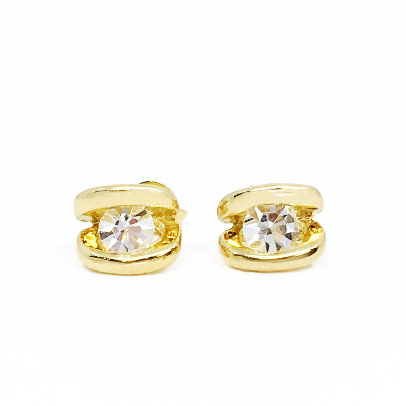 18K GL Detailed CZ Studs - Donna Italiana ®
