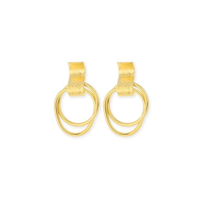 18k GL Double Hoop Snap Post Earrings - Donna Italiana ®