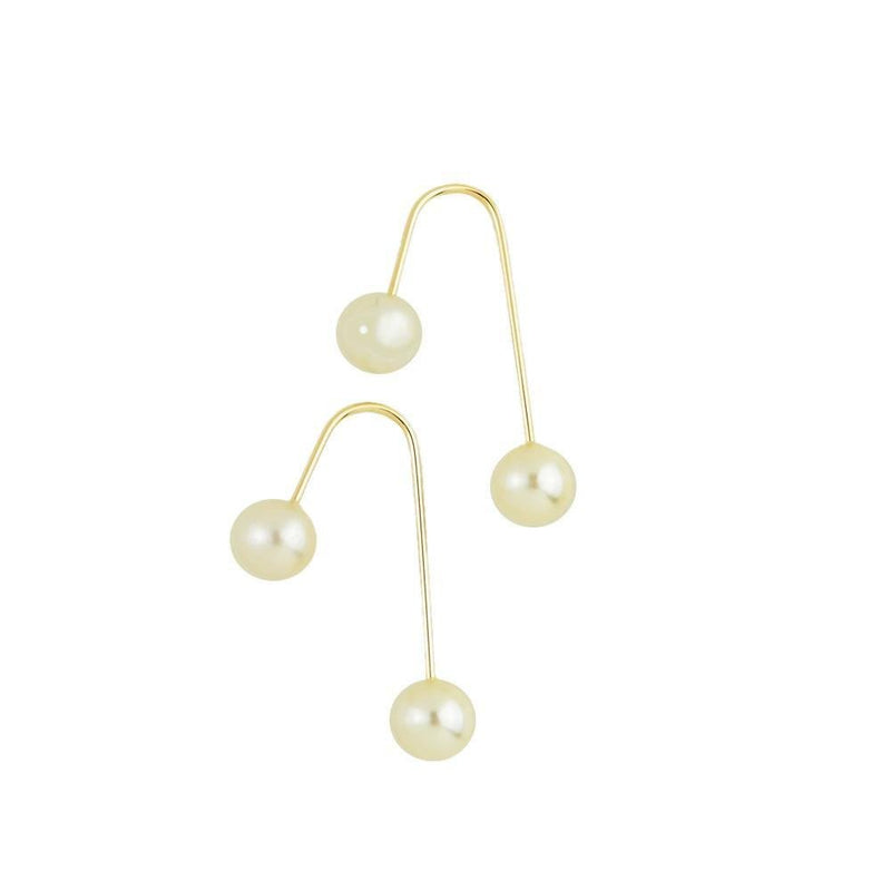 18K GL Double Pearl Hook Earrings - Donna Italiana ®