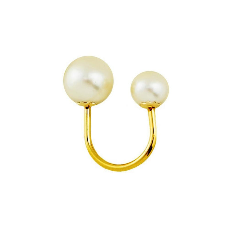 18k GL Double Pearl Ring - Donna Italiana ®