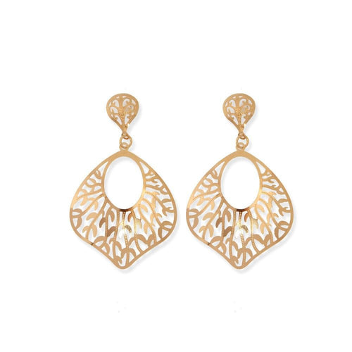 18K GL Drop Leaves Rose Gold Earrings - Donna Italiana ®