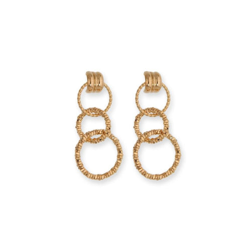 18k GL Drop Texture Hoops - Donna Italiana ®