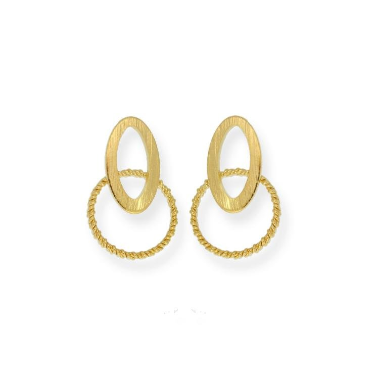 18k GL Elliptical Drop Earrings - Donna Italiana ®