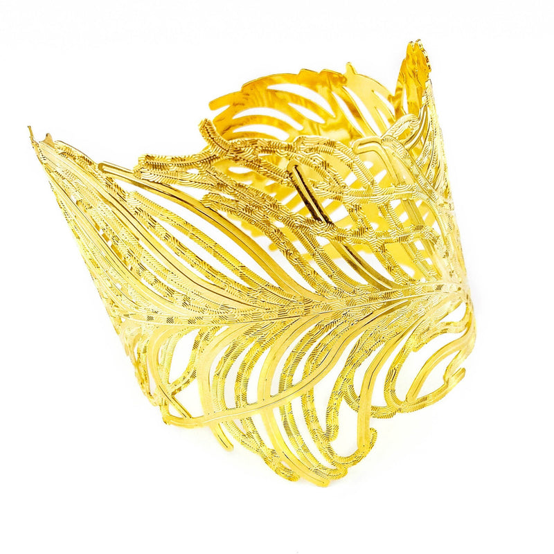 18k GL Feather Cuff - Donna Italiana ®
