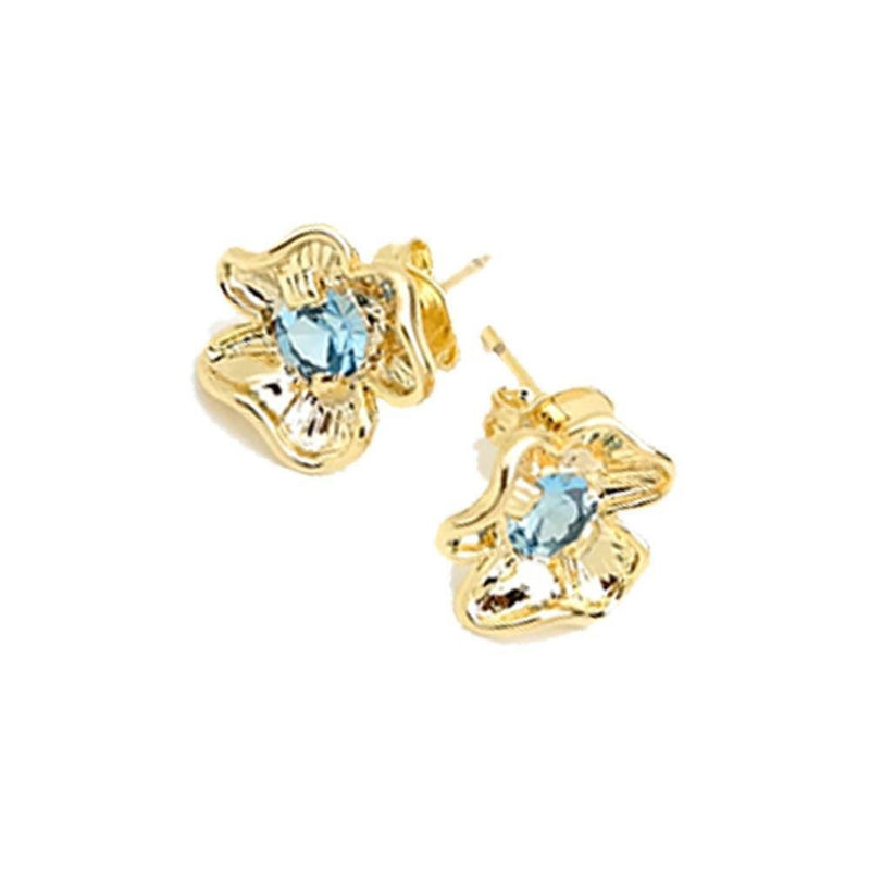 18K GL Flower Earrings Crystal - Donna Italiana ®