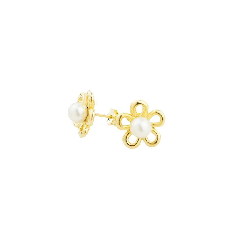 18k GL Flower Pearl Earrings - Donna Italiana ®