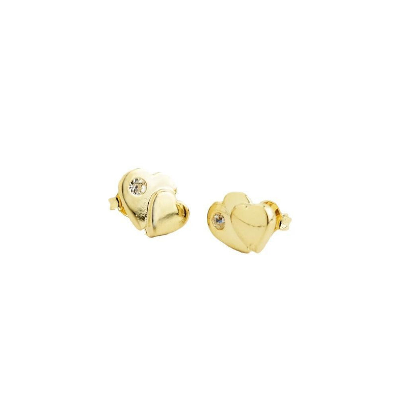 18k GL Heart CZ Earrings - Donna Italiana ®