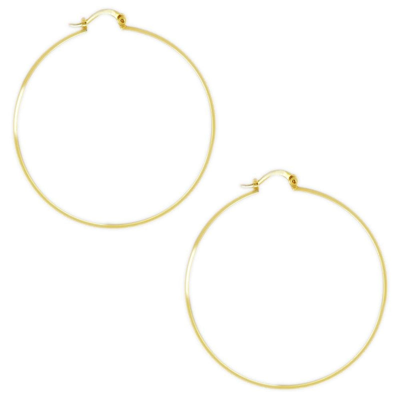 18k GL Hoop Earrings 52mm - Donna Italiana ®