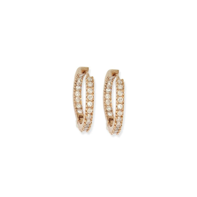 18k GL In/Out CZ Rose Gold Hoop Medium - Donna Italiana ®