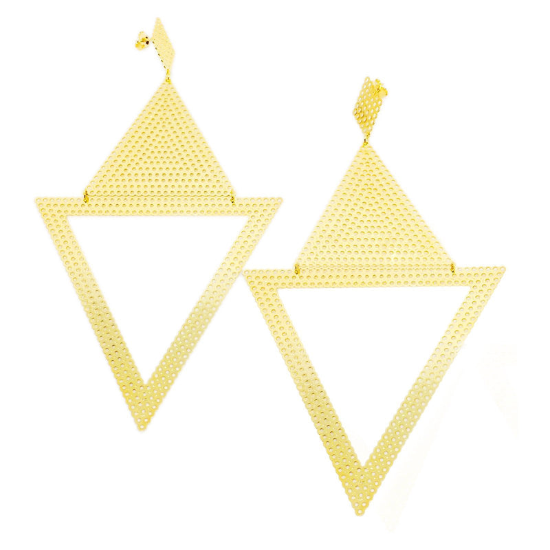 18k GL Inverted Triangles Earrings - Donna Italiana ®