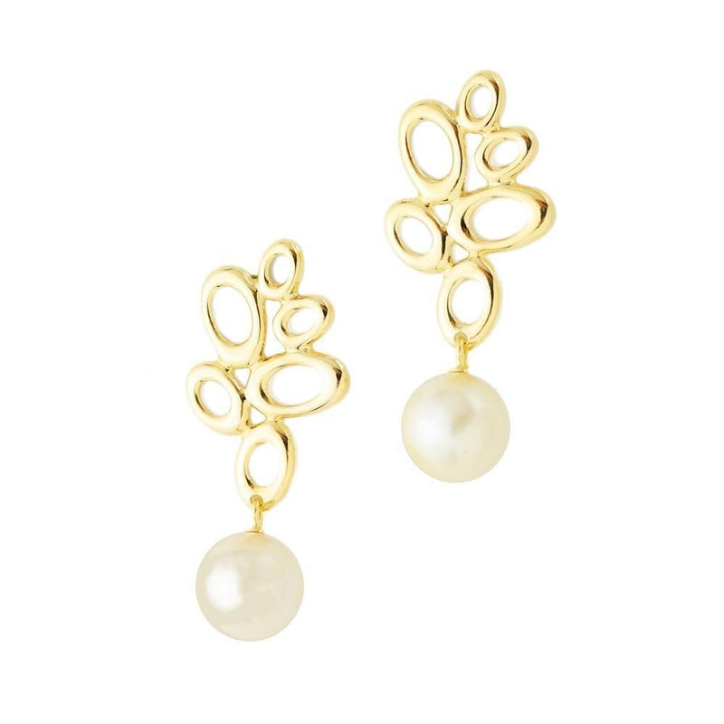18K GL Leaf Pearl Earrings - Donna Italiana ®