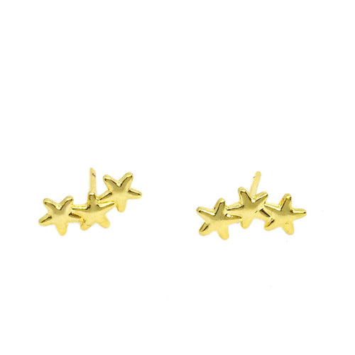 18k GL Little Stars Ear Studs - Donna Italiana ®