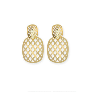 18k GL Mesh Curved Square Earrings