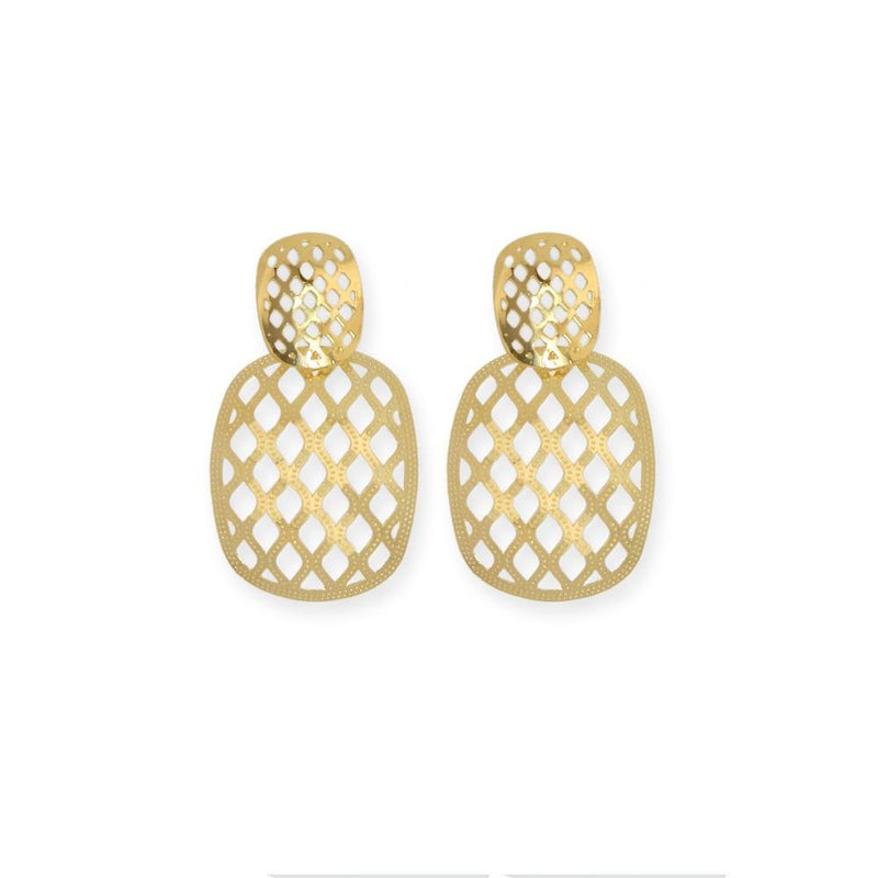 18k GL Mesh Curved Square Earrings - Donna Italiana ®