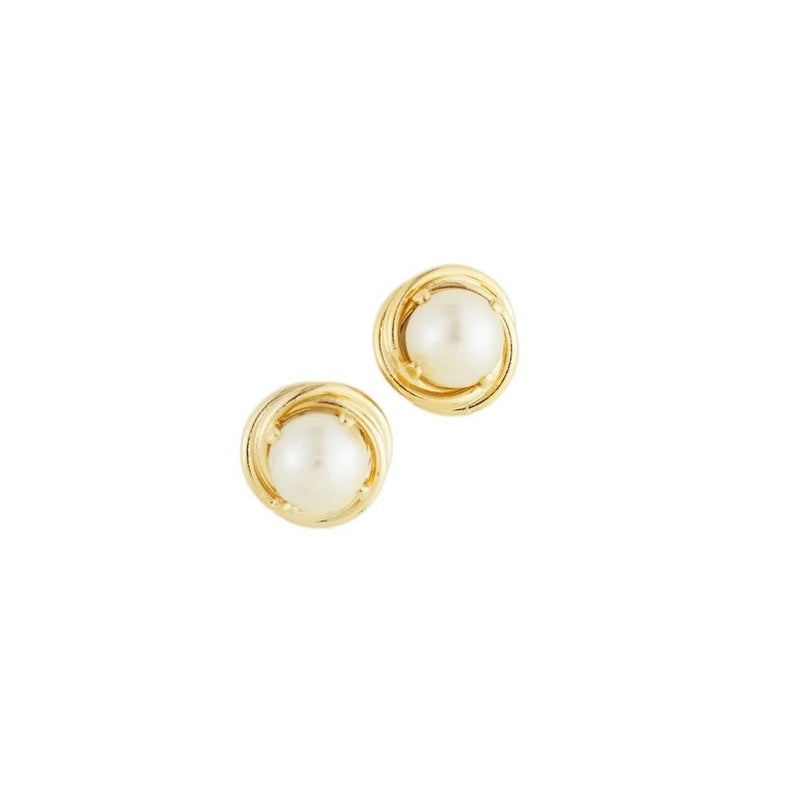 18k GL Nest Pearl Earrings 6mm - Donna Italiana ®