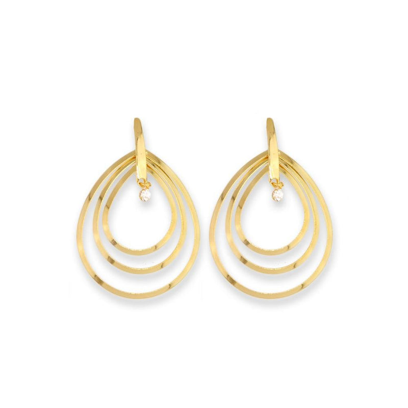 18k GL Open Drops Wire Earrings - Donna Italiana ®