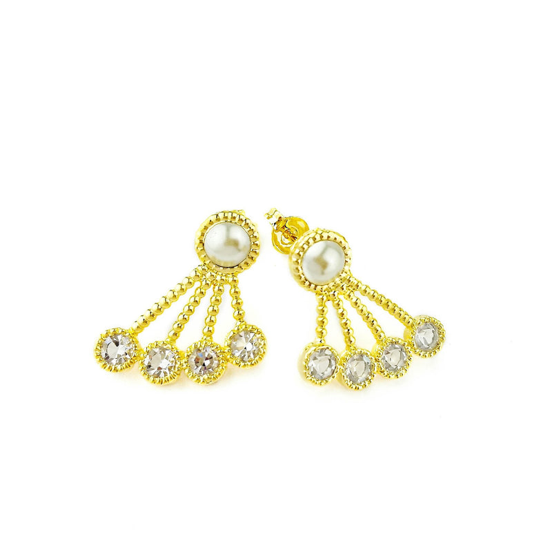 18k GL Pearl & Crystals Earrings - Donna Italiana ®