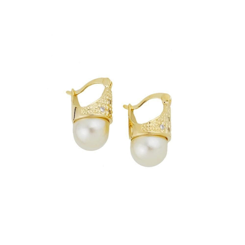 18k GL Pearl CZ Earrings - Donna Italiana ®