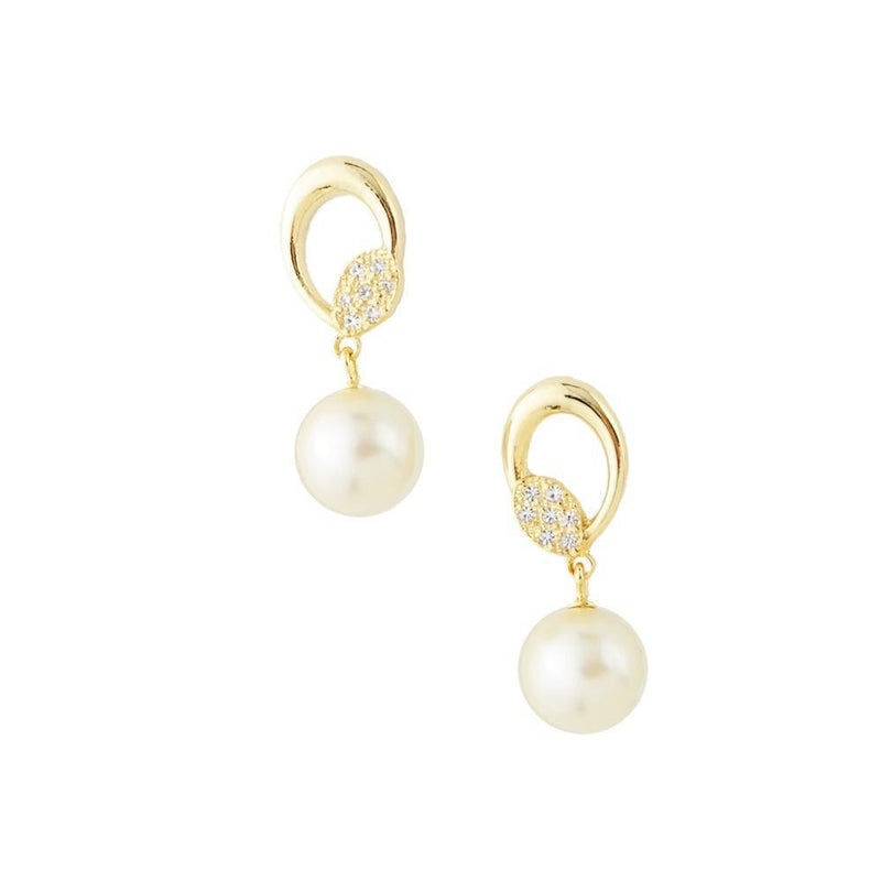18K GL PEARL ELIPTICAL DROP EARRINGS - Donna Italiana ®