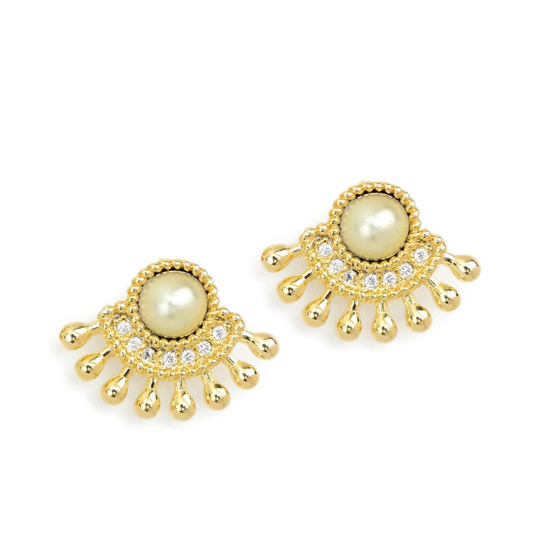 18k GL Pearl Fan Earrings - Donna Italiana ®