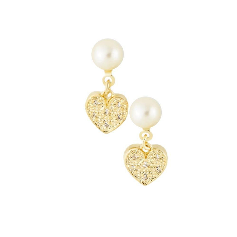 18K GL PEARL HEART DROP EARRINGS - Donna Italiana ®