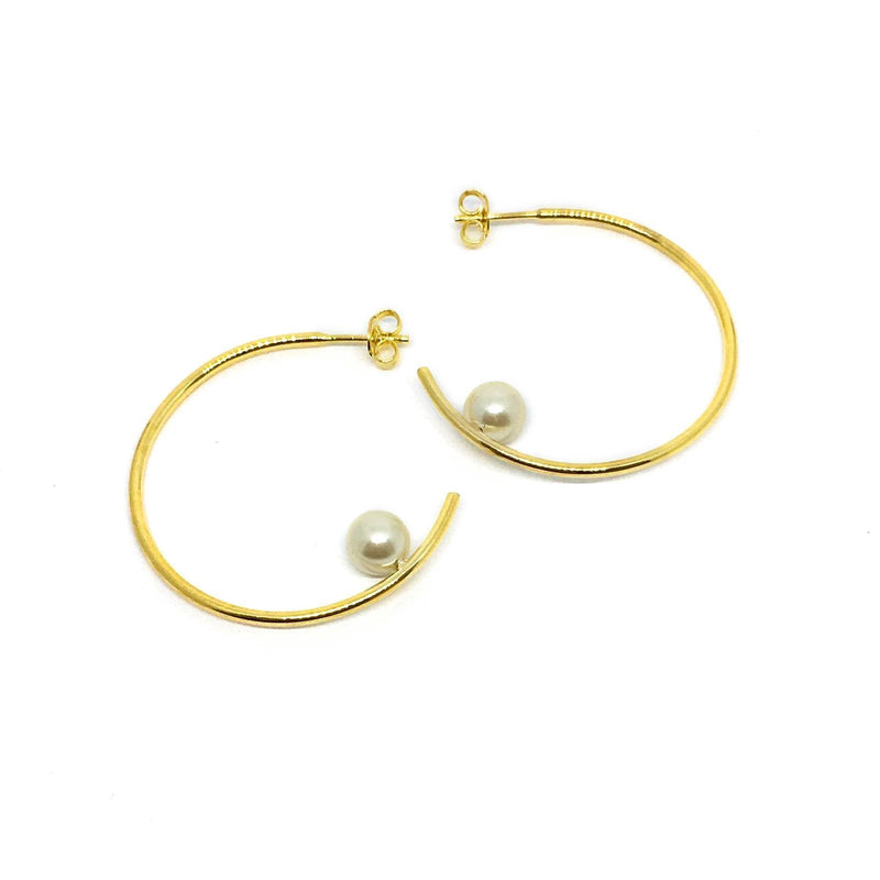 18K GL Pearl Hoop Earrings - Donna Italiana ®
