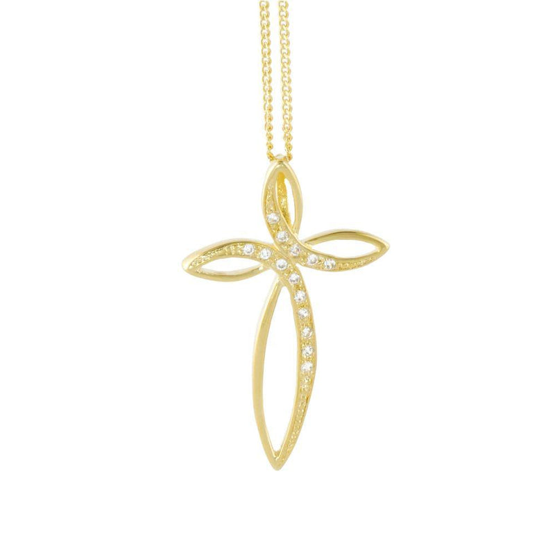 18k GL Pendant Cross with CZ - Donna Italiana ®