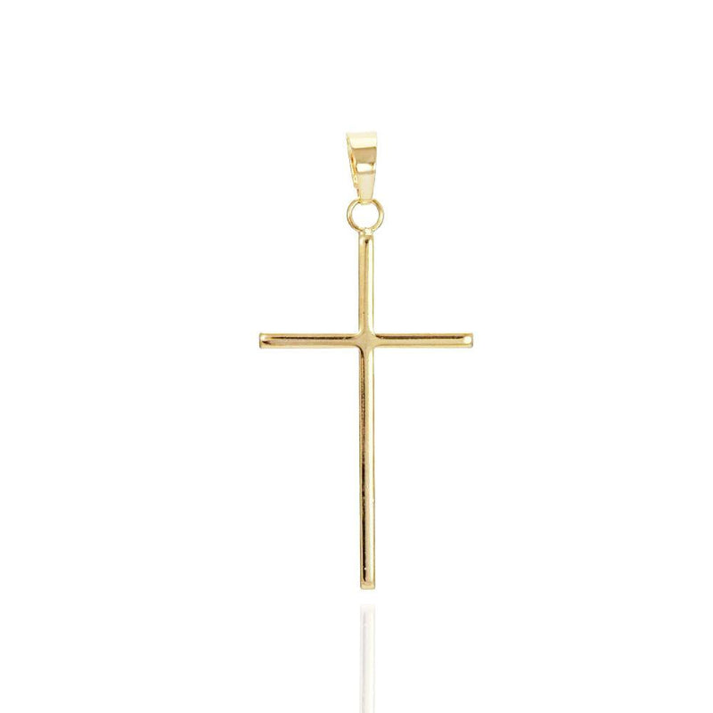 18K GL Plain Large Thin Cross Pendant - Donna Italiana ®