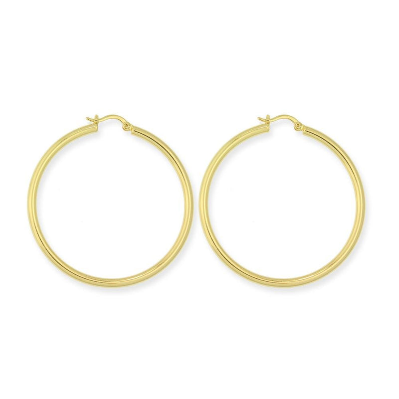 18k GL Polished Round Hoop - Donna Italiana ®