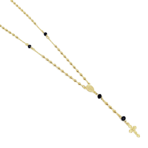 18K GL Rosary Necklace with Black Crystals - Donna Italiana ®