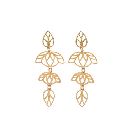 18k GL Rose Gold Drop Leaf Earrings - Donna Italiana ®