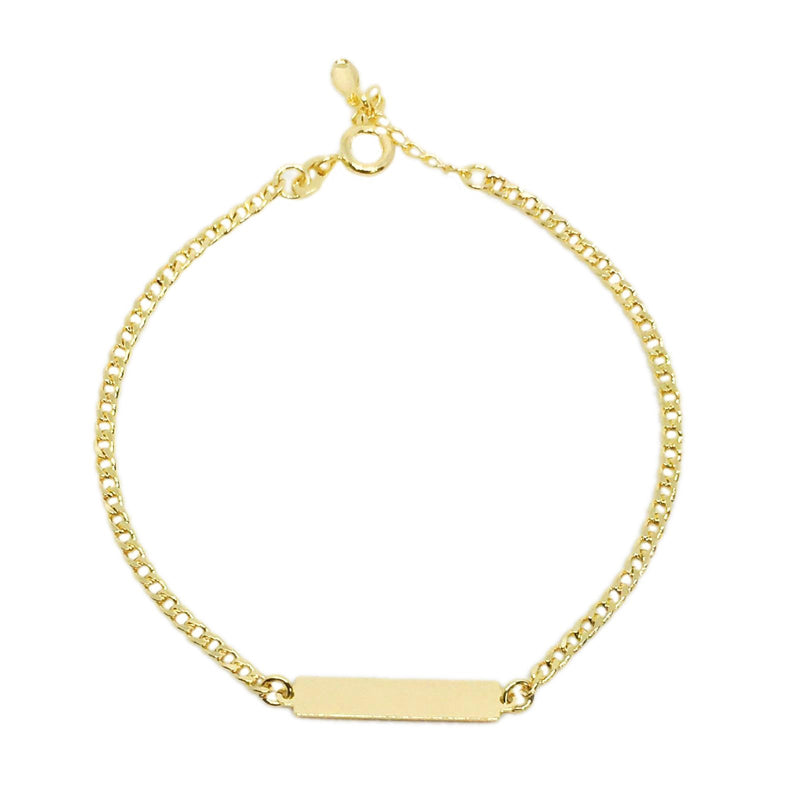 18k GL Simple Bar Bracelet - Donna Italiana ®