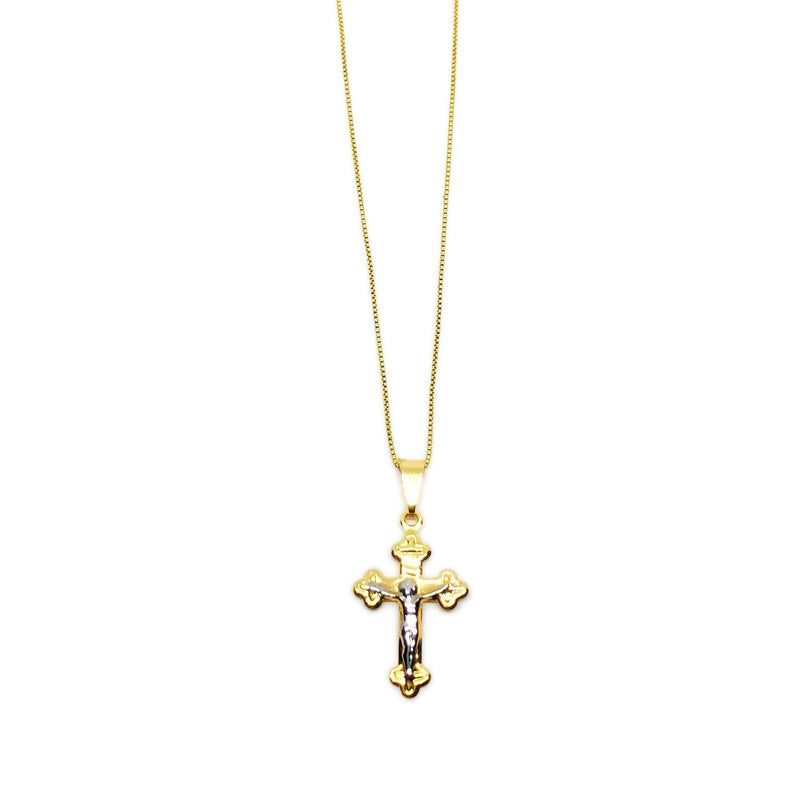 18k GL Simple Crucifix Necklace - Donna Italiana ®