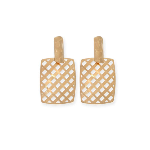18K GL Square Pattern Rose Earrings - Donna Italiana ®