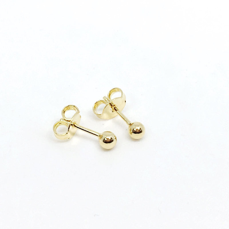 18k GL Tiny Ball Stud Earrings - Donna Italiana ®