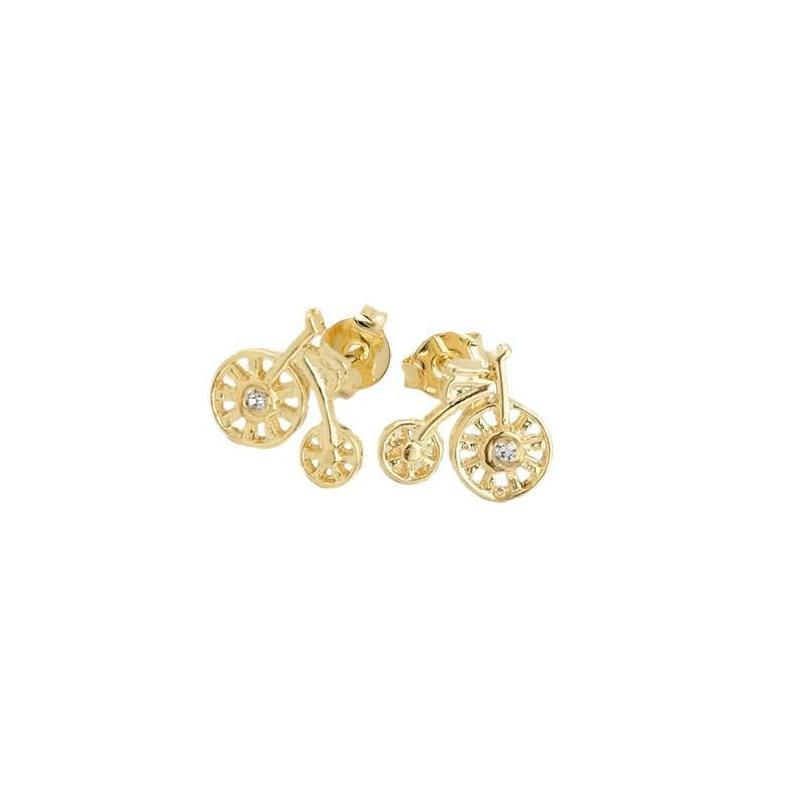 18k GL Tiny Bicycle CZ Earring - Donna Italiana ®