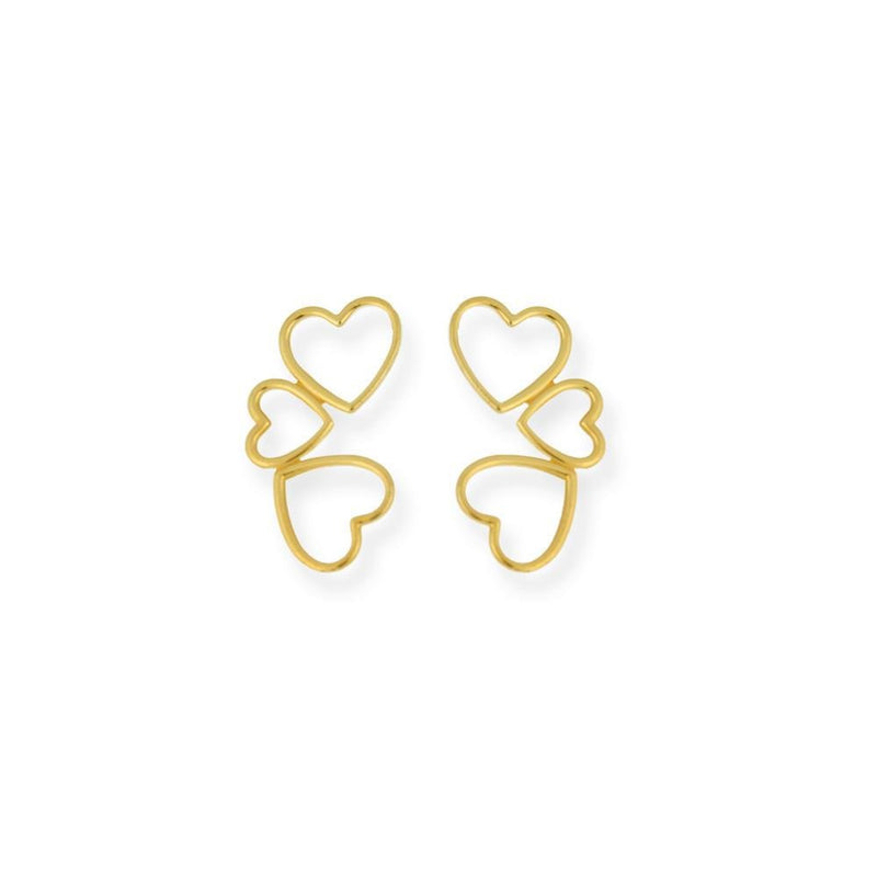 18k GL Triple Heart Earrings - Donna Italiana ®