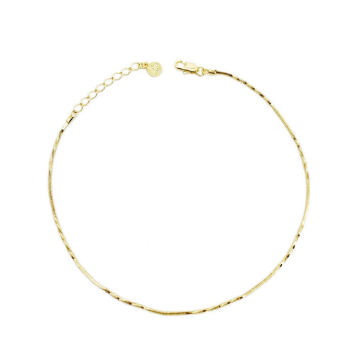 18k GL Twisted Chain Anklet - Donna Italiana ®