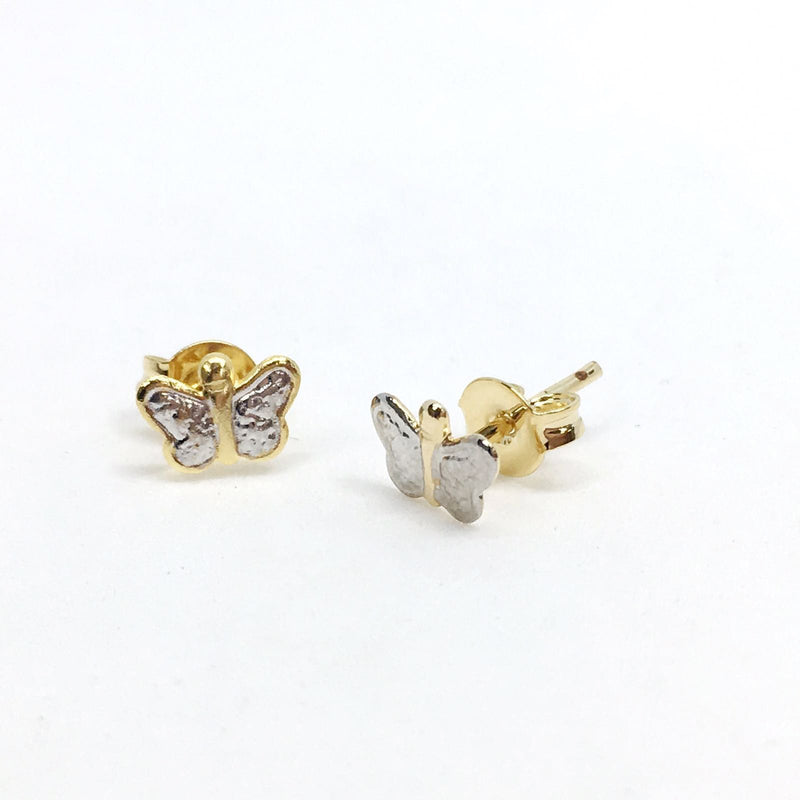 18k GL/RH Mini butterfly Stud - Donna Italiana ®