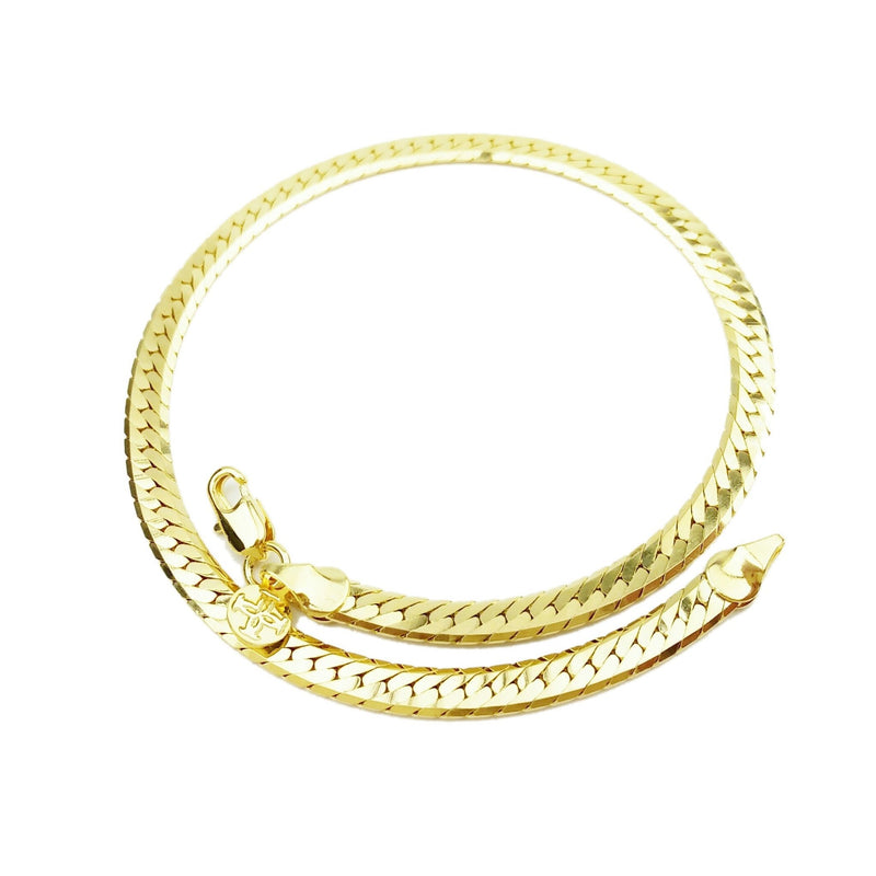 18K Gold Layer Diamond Cut Flat Anklet - Donna Italiana ®